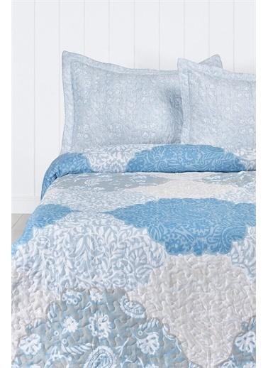 Kristal Kristal Çift Kişilik Yatak Örtüsü Takımı - Mavi Mavi